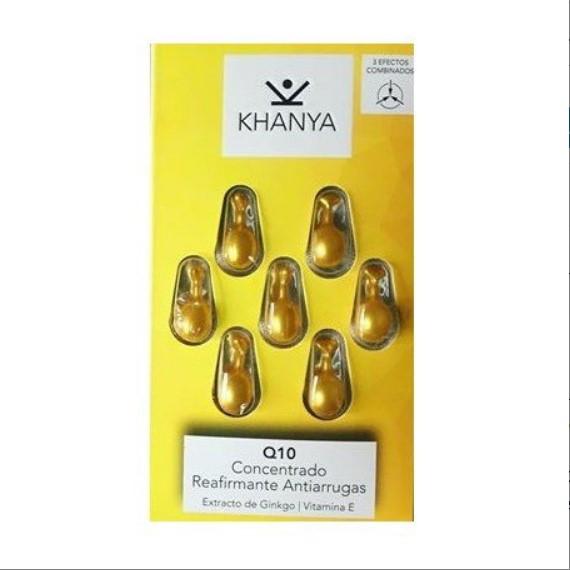 Perlas faciales antiarrugas de Khanya - Concentrado para rostro y ojos con Q10, contra el envejecimiento de la piel