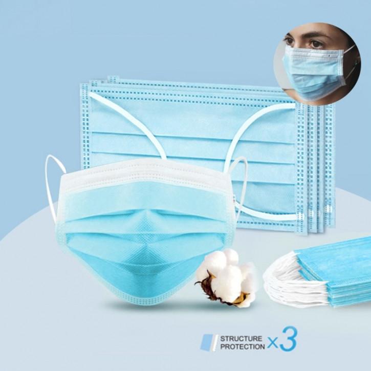 Mascarilla quirúrgica de un solo uso, de 3 capas, mascarilla eficaz para la protección contra el polvo, certificada por la CE y la FDA