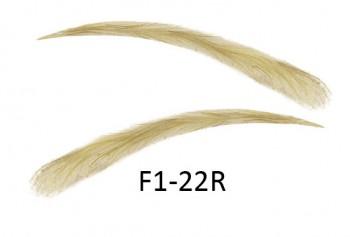 Cejas artificiales, semi permanentes de pelo 100 % natural para pegar - hecho a mano, F1-22R