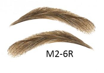 Cejas artificiales, semi permanentes de pelo 100 % natural para pegar - hecho a mano, M2-6R