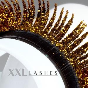 """Pestañas Mink """"Glitter"""" plateadas y doradas- C-Curl, en una caja con 3 largos diferentes - oro"""
