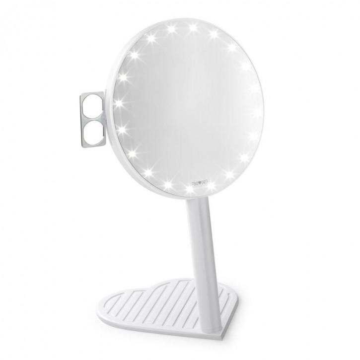 Espejo de aumento RIKI GRACEFUL 7x con iluminación LED y atenuación de tres etapas, un nuevo producto en la edición Glamcor