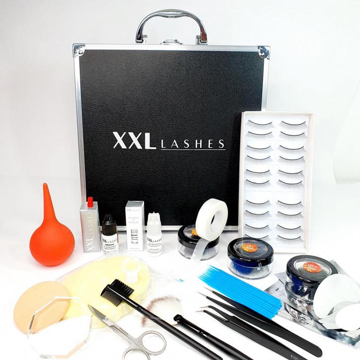 Kit de inicio de XXL Lashes para extensiones de pestañas, estuche negro con equipamiento básico para estilistas principiantes, incluyendo un manual