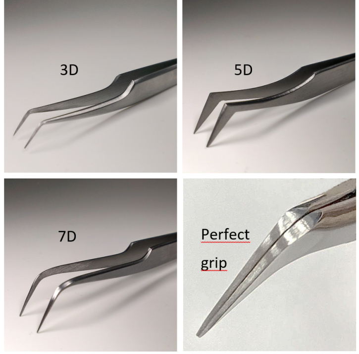 xD Pinzas de técnica de volumen, técnica de volumen rusa, extension de pestañas 3D, 5D o 7D