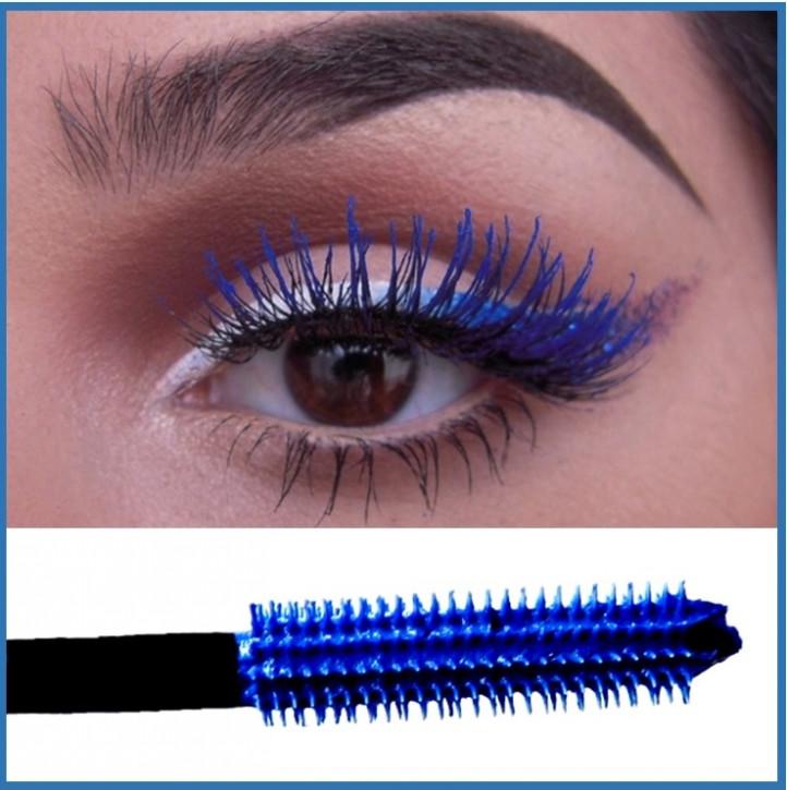 Máscara de pestañas azul, impermeable, para añadir volumen y color intenso