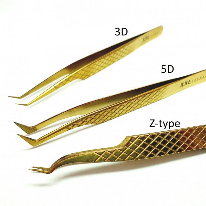 Pinzas de precisión con punta de diamantes para técnica de extensión de pestañas de volumen rusa