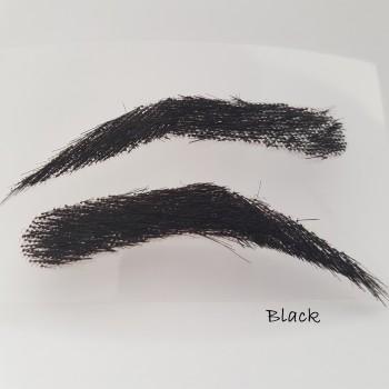 Cejas artificiales, semi permanentes para hombres de pelo 100 % natural para pegar - hecho a mano, segundos a un precio reducido - negro