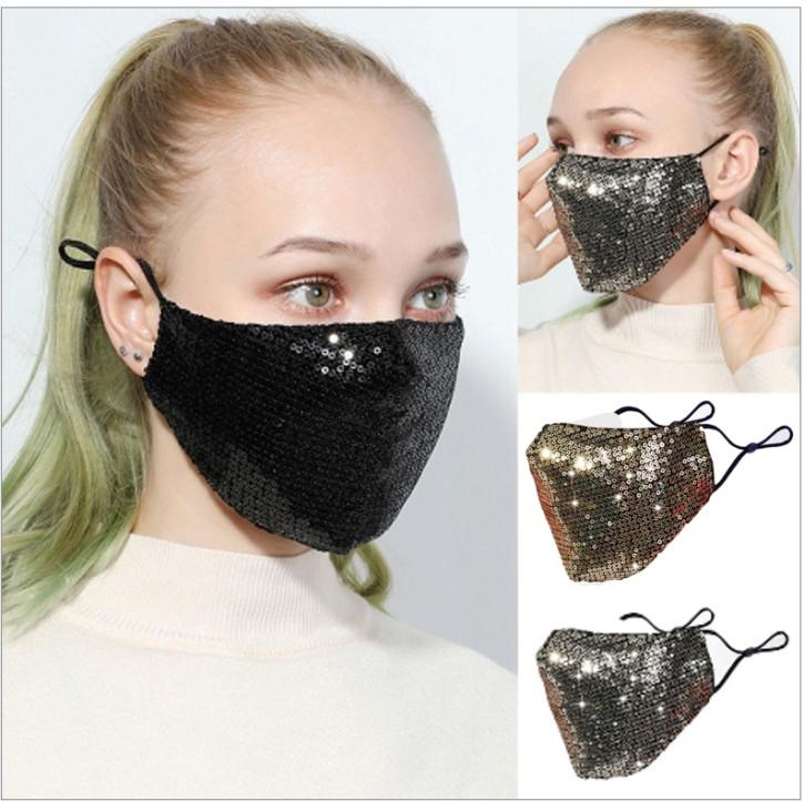 Máscara glamurosa con lentejuelas, cubre boca con brillo
