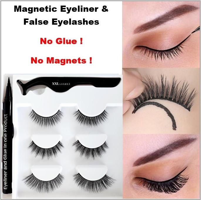 ❤ Kit de delineadora de ojos adhesivo mágico, combina ambos: delineador de ojos y pegamento para pestañas en un solo producto
