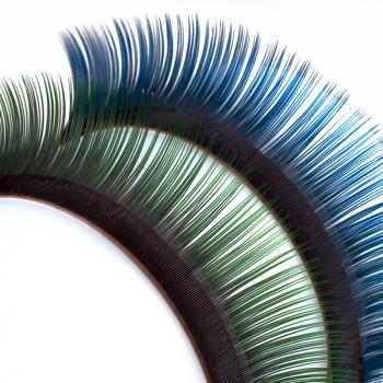 Pestañas Mink, bicolor, en las raíces color negro profundo, con la punta azul o verde