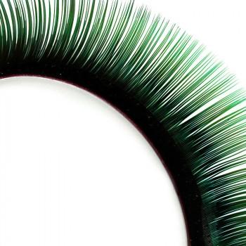 Pestañas Mink, bicolor, negro/verde, 13 mm
