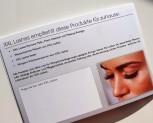 """100 uds. folleto de salones """"XXL Lashes extensiones de pestañas"""" (A6, alto brillo, 6 páginas"""
